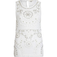 White mesh embellished tank top