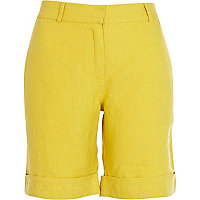 Yellow linen long turn up shorts