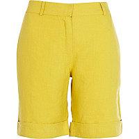Yellow linen long turn up shorts