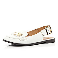 White sling back loafers