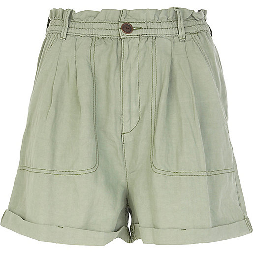 Green paper bag waist cargo shorts