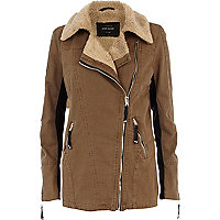 Brown shearling lined longline biker jacket