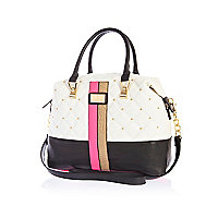 White quilted contrast panel bowler bag
