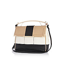 Beige colour block metal handle bag