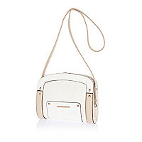 White contrast croc panel mini frame bag