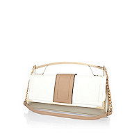 White colour block metal handle clutch bag