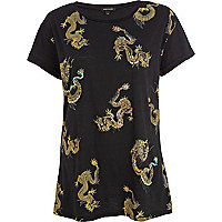 Black dragon print embellished t-shirt