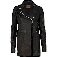 Black perforated leather jacket
