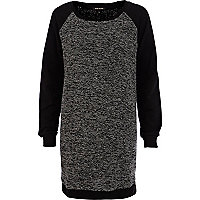 Black contrast sleeve sweatshirt dress