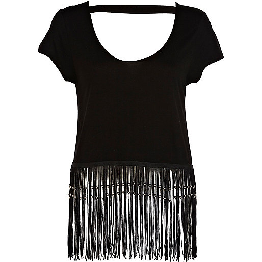 Black fringed backless boxy crop top