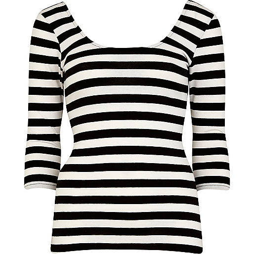 Black and white striped ballerina top