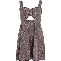 Purple tile print cut out skater dress