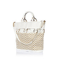 White chevron panel bucket bag