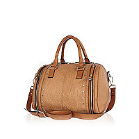 Beige tumbled leather bowler bag