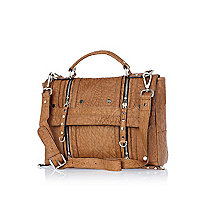 Beige tumbled leather satchel