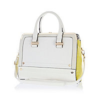 White colour block metal plate square bag
