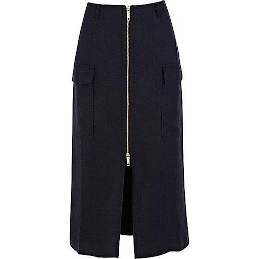 Navy linen utility zip front midi skirt