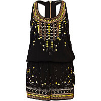 Black embellished racer back smart playsuit