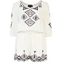 Cream embroidered pattern peasant playsuit