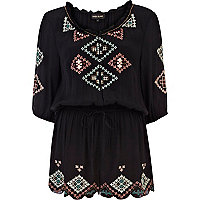 Black embellished pattern peasant playsuit