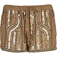 Khaki embellished runner shorts
