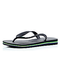Black layered sole Havaianas flip flops
