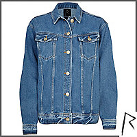 Mid wash Rihanna oversized denim jacket