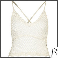 White Rihanna crochet cami top
