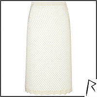 White Rihanna crochet midi skirt