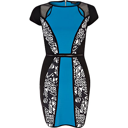 Blue colour block mesh bodycon dress