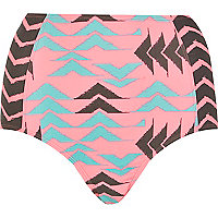 Pink chevron print high waist bikini bottoms