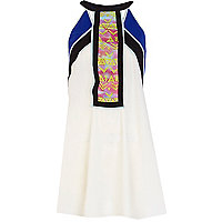 White racer front contrast panel dress