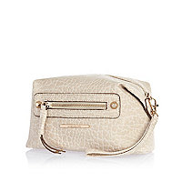 Cream tumbled stud make up bag