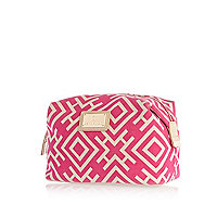 Pink geometric print make up bag