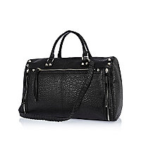 Black tumbled whip stitch holdall