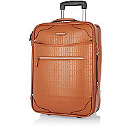 Brown RI embossed wheelie suitcase