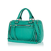 Green studded woven strap tumbled bowler bag