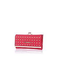Pink embellished clip top purse
