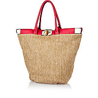 Beige woven contrast trim beach tote bag