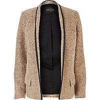 Beige contrast trim smart jacket