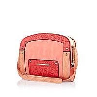Pink contrast croc panel mini frame bag