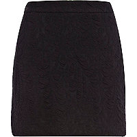 Black textured jacquard mini skirt