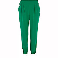 Green smart soft jogger trousers