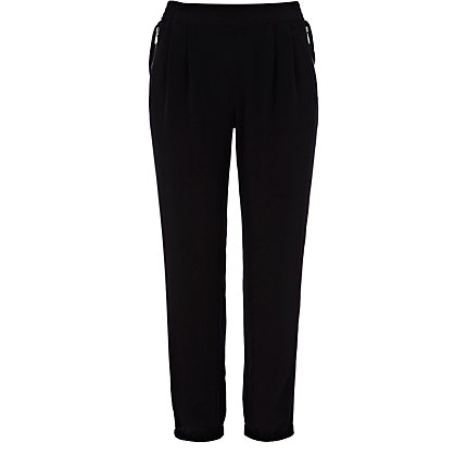 Black tapered smart jogger trousers
