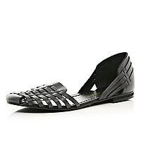 Black two-part woven sandal slippers