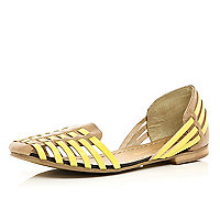 Beige two tone woven sandal slippers