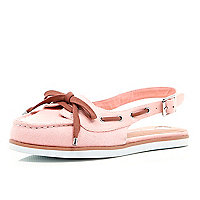 Pink sling back boat shoes