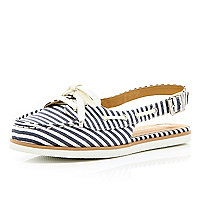 Navy stripe sling back boat shoes