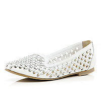 White woven slipper shoes