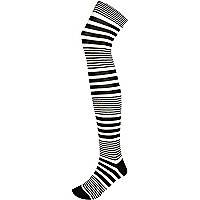 Black and white stripe over the knee socks